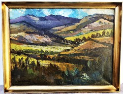 Csernó Judit (1925 - 2000) Dunántúli táj c. Képcsarnokos festménye 86x66cm EREDETI , GARANCIÁVAL !!!