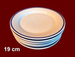 6 db kék csíkos alföldi porcelán süteményes tányér