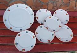 Ritka Alföldi gyümölcsös porcelán süteményes sütis  készlet, szilva,körte, alma szőlő