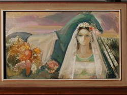 Cs. Pataj Mihály (Békéscsaba, 1921 - Szeged, 2008) Paripa virág, menyasszony festmény