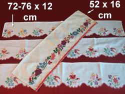 4 db Kalocsai virág mintával kézzel hímzett polccsík, polc csík