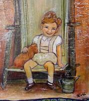 A nevetés. 40x30 cm-es képecske. Károlyfi Zsófia Prima díjas alkotó műve, porcelánmasszával, mázzal.