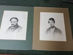 2 db XIX. sz. férfi portré, litográfia