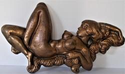 Nagyméretű, pihenő női akt, bronz plasztika, szecessziós stílusban