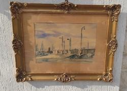 Gyönyörű Akvarell,szép hangulatos vízfestmény.Màv vasúti jelenet,pàlyaudvar!