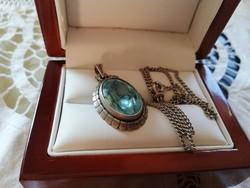 Eladó régi ezüst lánc kék köves ezüst medállal!