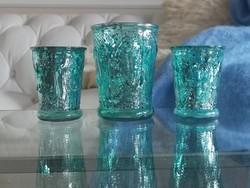 Türkiz, foncsoros üveg mécses tartók, poharak 10 cm
