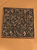 Retro bronz falitál azték mintás betéttel, 15 x 15 cm