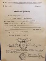 Származási Igazolvány/Fuchs Endre tart.százados. Monor 1942,jan,17