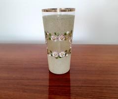 Antik zománcfestett virágos üveg pohár díszpohár