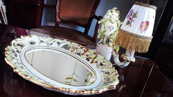 Extrém ritka! Herendi QueenVictoria barokk fali tükör és fali kandeláber