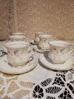 Eladó régi finom porcelán angol Balmoral virág mintás kis teás duók 6db!