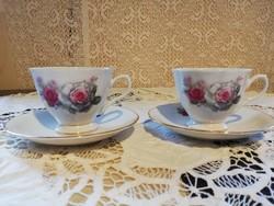 Eladó régi finom porcelán kinai virágos teás duók 2 db!