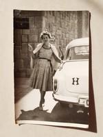 Régi fotó 1960 körül női fénykép autó Wartburg