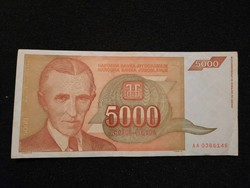 Gyönyörű Jugoszláv 5000 Dínár 1993