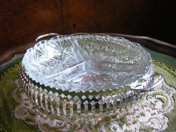 Csodás, ezüstözött, francia üvegbetétes, háromosztatú kínáló tál, asztalközép, szinte hibátlan