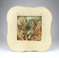 1D343 Szemereki Teréz : Kortárs kerámia falikép 28 x 28 cm
