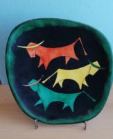Bodrogkeresztúri bikás kerámia tányér