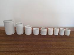 Régi patikai porcelán patikatégely vintage patikaedény 9db