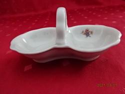 Zsolnay porcelán, antik, pajzspecsétes sótartó, hossza 12,5 cm.