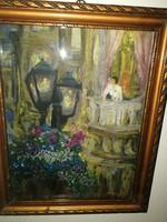 """Gyönyörű antik festmény - V.J. szignóval - """"Hölgy a teraszon"""" - aukción, villámárral!"""