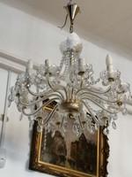 Bronz csillár kristály díszekkel. 1950 évek. Nagy méret.12 db kár.