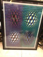 Vasarely szitanyomat, sorszámozott, 70 x 50 cm-es.