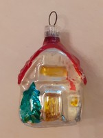 Régi üveg karácsonyfadísz házikó üvegdísz