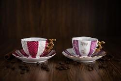 Novex porcelán kávés csésze, alátét tányérral, régi, 2 darab.