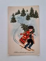 Régi karácsonyi rajzos népviseletes sielős képeslap
