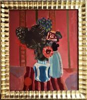 Béres Jenő (1912 - 1981) csendélet c Képcsarnokos festmény 84x74cm EREDETI GARANCIÁVAL !