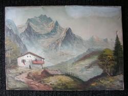 Alpesi hegyi tájkép Festmény olajfestmény sí sport kedvelőinek is. Menedékház turista ?