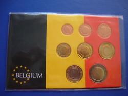 BELGIUM 1 EURO CENT - 2 EURO 1999-2004 VEGYES 8 DARABOS SOR ! RITKA! KÉT BIMETÁLLAL!