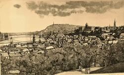 Gaál Domokos (1940 - ) Budapest c. rézkarca EREDETI GARANCIÁVAL !