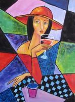 B.Tóth Irisz-KUBISTA festmény 42x31cm