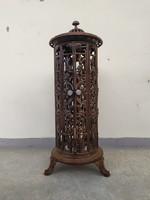 Antik vaskályha henger alakú barna zománc vas kályha kandalló tartó keret dekoráció virágtartó lámpa