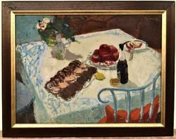 Béres Jenő (1912 - 1981) Szobabelsőt c Képcsarnokos festmény 95x75cm EREDETI GARANCIÁVAL !