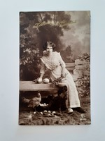 Régi húsvéti képeslap 1917 női fotó levelezőlap