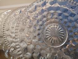 Op art iparművészeti üveg tányérok, 6 db süteményes