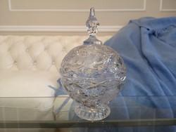 Rózsás, modern, nagy kristály bonbonier, asztalközép, 26 cm