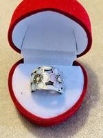 Tiffany stílusú antik ezüst gyűrű