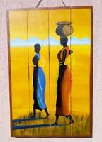 Afrikai batyus nők. Deszka lapokra festett kép. Kortárs művészi alkotás.