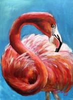 Flamingó - akrilfestmény