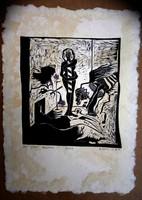 Ef Zámbó István 1974 es linometszet ( lapméret 45x33  cm )