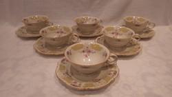 Számozott 6 személyes porcelán teáscsésze készlet