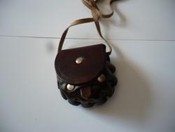 Kézműves bőr szütyő,pénztárca