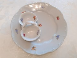 Régi 2 db barokk Zsolnay porcelán lapos tányér sótartó virágos