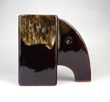 1D384 Barna mázas elefánt alakú kerámia könyvtámasz 14.5 cm