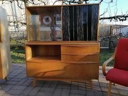 Mid century design sideboard, komód vitrinnel,Opaxit lappal,BOHUMIL LANDSMAN,1955-65körüli