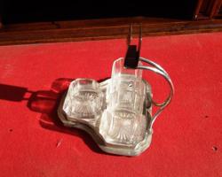 Dohànyzó szett üveg betétekkel. Asztalközép, cigaretta,szivar luxus eeredeti 3 csiszolt üveg